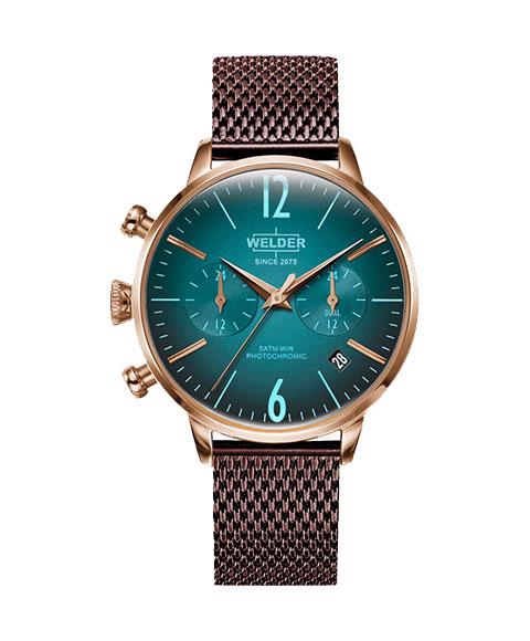 ウェルダー ムーディ WWRC610 腕時計 レディース ユニセックス WELDER MOODY DUAL TIME 38MM クロノグラフ ゴールド ワインレッド系