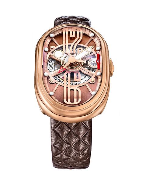 グリモルディ G.T.O. RGMTBR612PK 腕時計 メンズ GRIMOLDI Gran Tipo Ovale 自動巻 ゴールド レザーストラップ ブラウン系