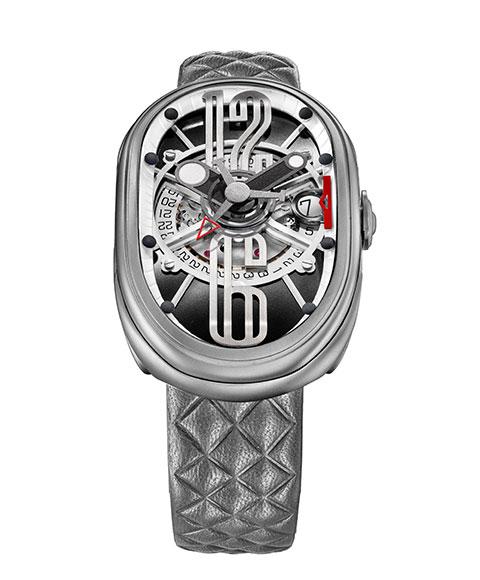 グリモルディ GRIMOLDI 腕時計 G.T.O. SSMTBK612ST 絶品 返品交換不可 メンズ Gran 自動巻 レザーストラップ グレー系 Ovale Tipo