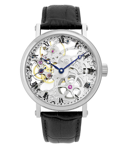 アルカフトゥーラ メカニカルスケルトン P0110201BK 手巻 腕時計 メンズ ARCAFUTURA レザーストラップ