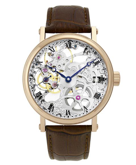 アルカフトゥーラ メカニカルスケルトン P0110201RGBR 手巻 腕時計 メンズ ARCAFUTURA ゴールド レザーストラップ