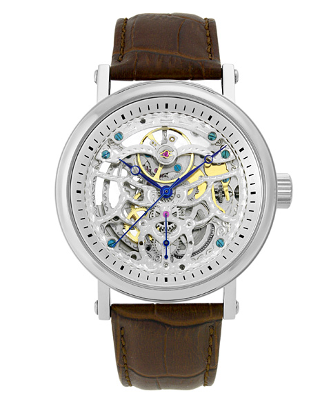アルカフトゥーラ メカニカルスケルトン P0110301BR 自動巻 腕時計 メンズ ARCAFUTURA レザーストラップ ブラウン系
