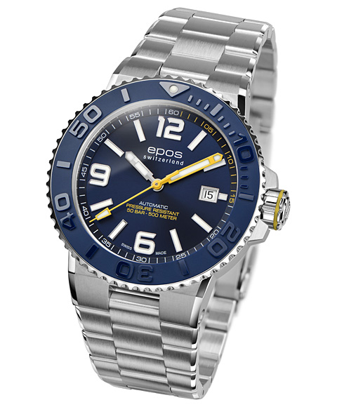 エポス スポーティブ ダイバー 3441ABLM 腕時計 メンズ 自動巻 epos SPORTIVE DIVER メタルブレス ブルー系