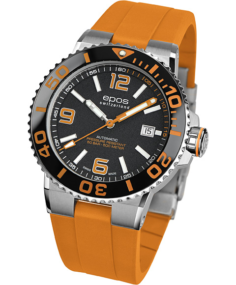 エポス スポーティブ ダイバー 3441ABKORORR 腕時計 メンズ 自動巻 epos SPORTIVE DIVER オレンジ系