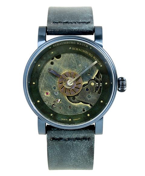 シャウボーグ ウニカトリウム スチームパンク2 STEAMPUNK2 ヴィンテージ加工 腕時計 メンズ SCHAUMBURG Unikatorium Hand Made ブルー系
