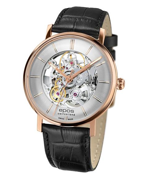 エポス オリジナーレ レトロ スケルトン 3437SKRGSL 腕時計 メンズ 自動巻 epos Originale Retro Skeleton レザーストラップ ゴールド