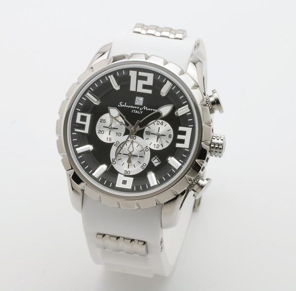 サルバトーレマーラ SM15107-SSBK/WH 腕時計 メンズ Salvatore Marra クロノグラフ 3Dインデックス ホワイト系