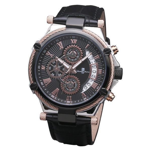サルバトーレマーラ SM18102-PGBK 腕時計 メンズ Salvatore Marra クロノグラフ レザーストラップ