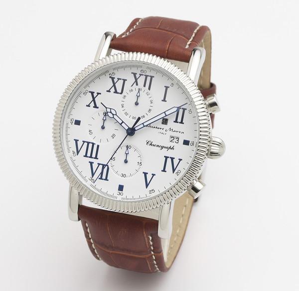 サルバトーレマーラ SM19109-SSWH/BR 腕時計 メンズ Salvatore Marra クロノグラフ レザーストラップ