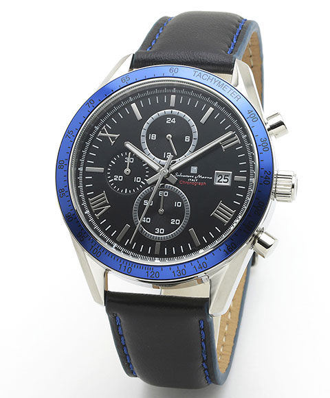 サルバトーレマーラ SM19108-SSBKBL 腕時計 メンズ Salavatore Marra クロノグラフ レザーストラップ