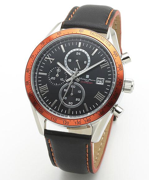 サルバトーレマーラ SM19108-SSBKOR1 腕時計 メンズ Salavatore Marra クロノグラフ レザーストラップ