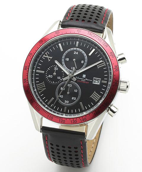 サルバトーレマーラ SM19108-SSBKRD2 腕時計 メンズ Salavatore Marra クロノグラフ レザーストラップ