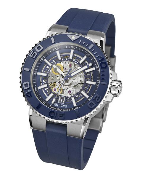 エポス スポーティブ ダイバー スケルトン 3441SKBLBLR 腕時計 メンズ 自動巻 epos SPORTIVE DIVER Skeleton ブルー系