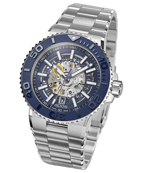 エポス スポーティブ ダイバー スケルトン 3441SKBLM 腕時計 メンズ 自動巻 epos SPORTIVE DIVER Skeleton