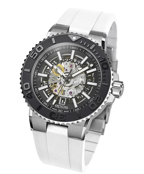 エポス スポーティブ ダイバー スケルトン 3441SKBKWHR 腕時計 メンズ 自動巻 epos SPORTIVE DIVER Skeleton ホワイト系