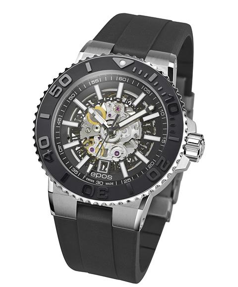 エポス スポーティブ ダイバー スケルトン 3441SKBKR 腕時計 メンズ 自動巻 epos SPORTIVE DIVER Skeleton