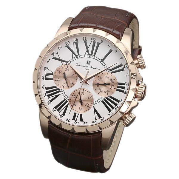 サルバトーレマーラ SM15103-PGWH 腕時計 メンズ Salvatore Marra レザーストラップ