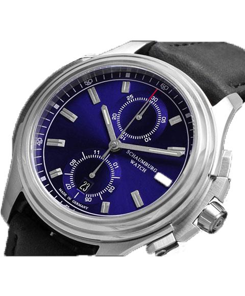 シャウボーグ アーバニッククロノグラフ URBANIC CHRONOGRAPH1 (BLブルーダイヤル) 腕時計 メンズ SCHAUMBURG 自動巻 レザーストラップ