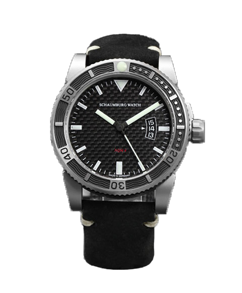 【気質アップ】 シャウボーグ AQM4 SCHAUMBURG CARBON カーボン 腕時計 メンズ SCHAUMBURG 自動巻 カーボン メンズ レザーストラップ ブラック系, エスニード:354ba591 --- experiencesar.com.ar