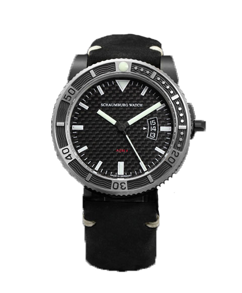 シャウボーグ AQM4 CARBON PVD カーボン 腕時計 メンズ SCHAUMBURG 自動巻 レザーストラップ