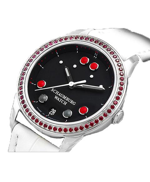 シャウボーグ ベビーフロッグストーン BABYFROG STONE トパーズ 腕時計 レディース SCHAUMBURG クロノグラフ 自動巻 レザーストラップ