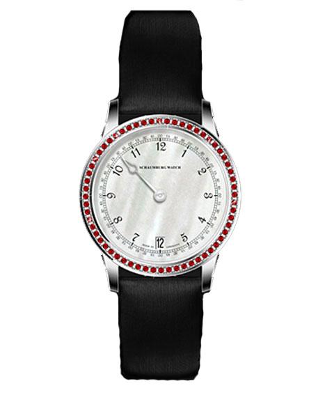 シャウボーグ GNOMONIK-LYRD ウーマンパッションレッド WOMAN PASSION REDトパーズ 腕時計 レディース SCHAUMBURG GNOMONIK クロノグラフ 自動巻 レザーストラップ レッド系