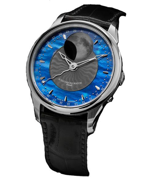 シャウボーグ ムーンネブラ MOON NEBULA 腕時計 メンズ SCHAUMBURG Moon Blue Nebula 自動巻 レザーストラップ