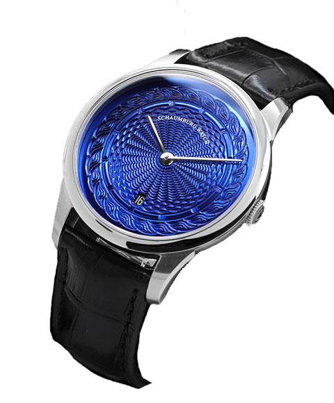 シャウボーグ ウニカトリウム MARLEMATIC-BL ブルーダイヤル 腕時計 メンズ SCHAUMBURG Unikatorium Hand Made Marlematic 自動巻 レザーストラップ ブルー系