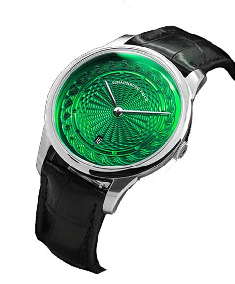 シャウボーグ ウニカトリウム MARLEMATIC-GR グリーンダイヤル 腕時計 メンズ SCHAUMBURG Unikatorium Hand Made Marlematic 自動巻 レザーストラップ