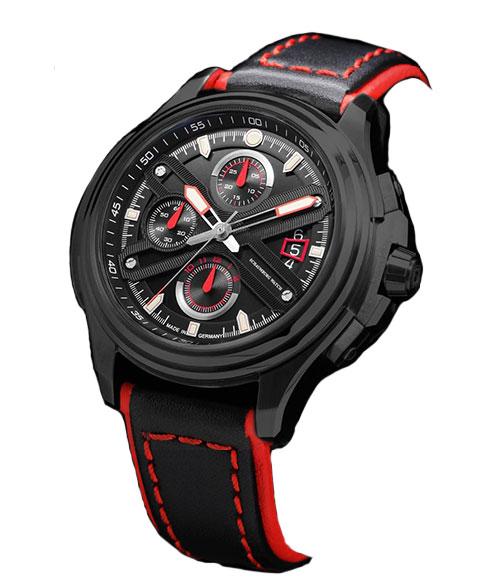 シャウボーグ GTスーパーカップブラックPVD GT-SuperCup-pvd 腕時計 メンズ SCHAUMBURG GT-SuperCup 自動巻 レザーストラップ