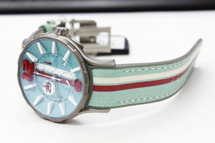 ワケあり アウトレット 67%OFF! NOA ノア 腕時計 16.75 GRT 005 モナコ クロノグラフ 限定モデル レザーストラップ ブルー系