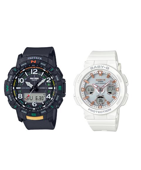 カシオ ジーショック PRTB501JF/BGA25007AJF 腕時計 メンズ/レディース CASIO G-SHOCK ペアウォッチ 防水 プレゼント 記念日 Bluetooth対応 ホワイト系