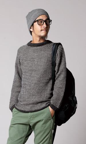 作品♪217aw-17アフガンのモノトーンセーター