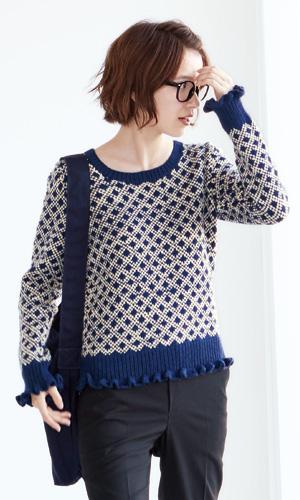 作品♪218aw-07編み込み模様のセーター