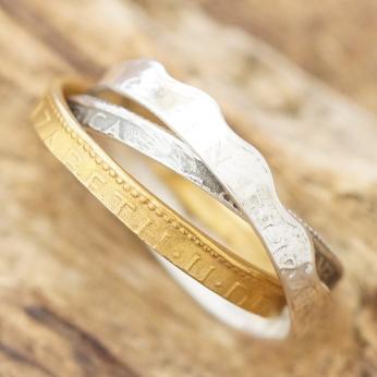 amp japan(アンプジャパン)コイン リング 指輪 3連 シルバー925 ゴールド トリニティー6AM-154【送料無料】