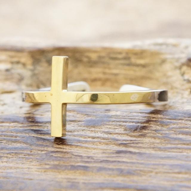 amp japan(アンプジャパン)リング メンズ レディースクロス 十字架 指輪シルバー ゴールドシルバー925 真鍮ヴィンテージ アンティーク ハンドメイドHYO-246brass【送料無料】
