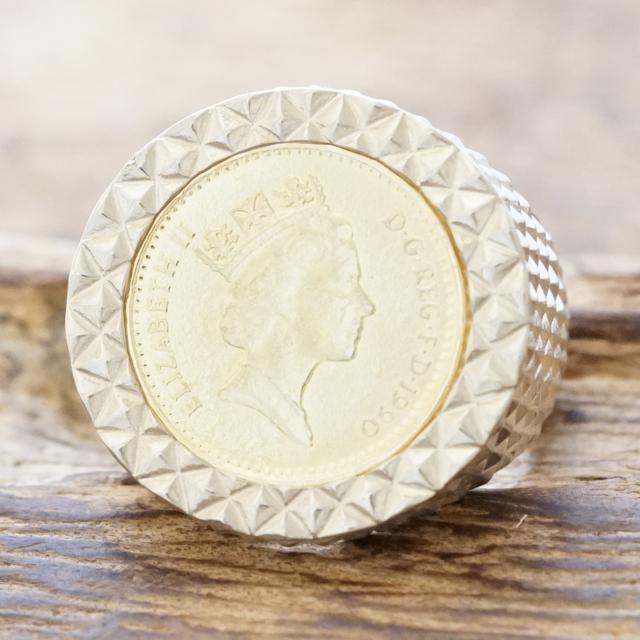 【あす楽】amp japan(アンプジャパン) コイン リング メンズシルバー 925 指輪 エリザベス コインハンドメイド ジュエリーファッション ブランド おしゃれ17AAS-202silver【ギフト包装】【送料無料】