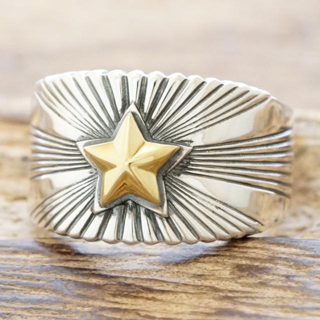 amp japan(アンプジャパン)スター リング メンズシルバー 925 指輪 星 真鍮 燻しサンバースト たがね スタンプハンドメイド ジュエリーアメカジ サーフ ネイティブファッション ブランド おしゃれ15ah-240【送料無料】