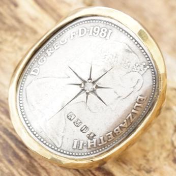 amp japan(アンプジャパン)コインリング メンズダイヤモンド エリザベス コイン真鍮 指輪ヴィンテージ アンティーク ハンドメイド15ao-251brs【ギフト包装】【送料無料】