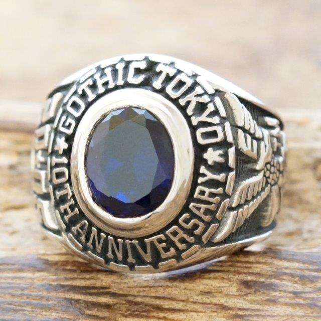 【あす楽】カレッジリング メンズシルバー 925 指輪 家紋 ブルー キュービックジルコニアチャンピオンリング 記念リングシルバーアクセサリー 銀ハンドメイド ジュエリーGOTHIC GR-300blue【ギフト包装】【送料無料】
