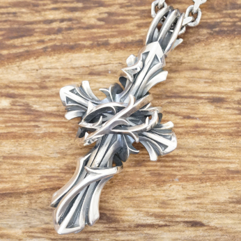 2a4eb8fb3a8f31 M collection (M's collection) cross necklace men thorn K10 silver 925 XP-060  ...
