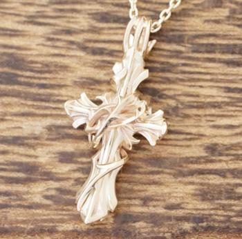 エムズコレクション(M's collection)ゴールド ネックレス メンズクロス 十字架 イバラ10金 K10 イエローゴールドXP-083【ギフト包装】【送料無料】