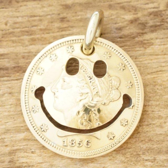 NORTH WORKS(ノースワークス)ゴールド ネックレス メンズ2.5$ リバティーヘッド コイン 金貨 21.6K 18K 18金スマイル ニコちゃんヴィンテージコイン アンティークインディアンジュエリー ナバホ族G-005TOP【送料無料】