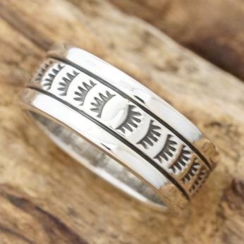 NORTH WORKS(ノースワークス)インディアンジュエリー リング メンズシルバー 指輪 平打ち ナバホ スタンプハンドメイド ジュエリーファッション ブランド おしゃれW-223【ギフト包装】【送料無料】