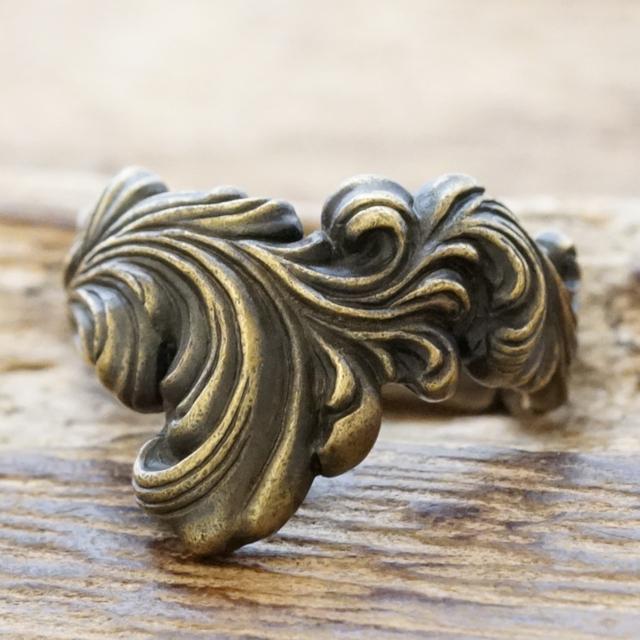 【あす楽】QUETZAL(ケツァール)唐草 リング メンズ レディース真鍮 指輪 燻し ロココ アイヴィー 蔦 アラベスクヴィンテージ アンティークハンドメイド ジュエリーバイカー ハーレー アメカジQL-R-13brass【送料無料】