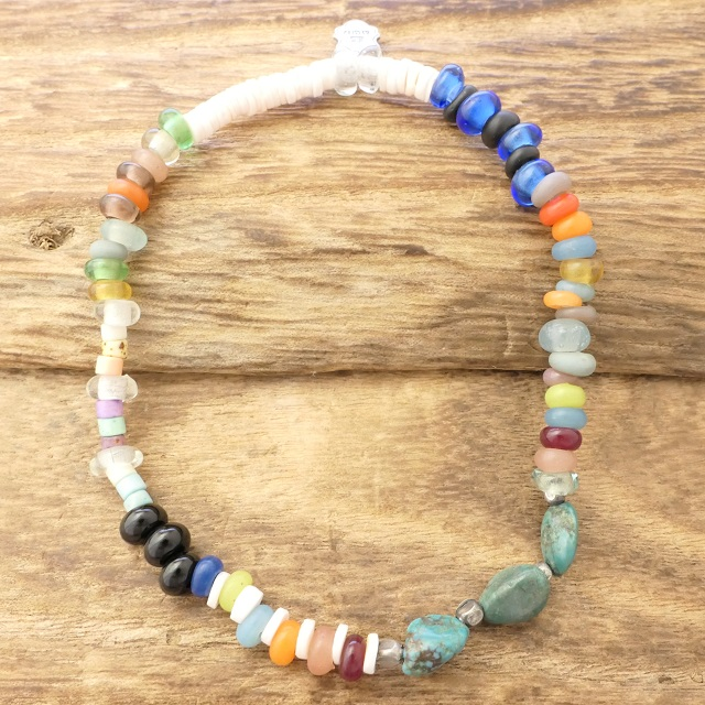 ampjapan (amplifier Japan) beads anklet men turquoise turquoise ブラックオブシディアン  shell puka shell glass beads white Hertz handmade