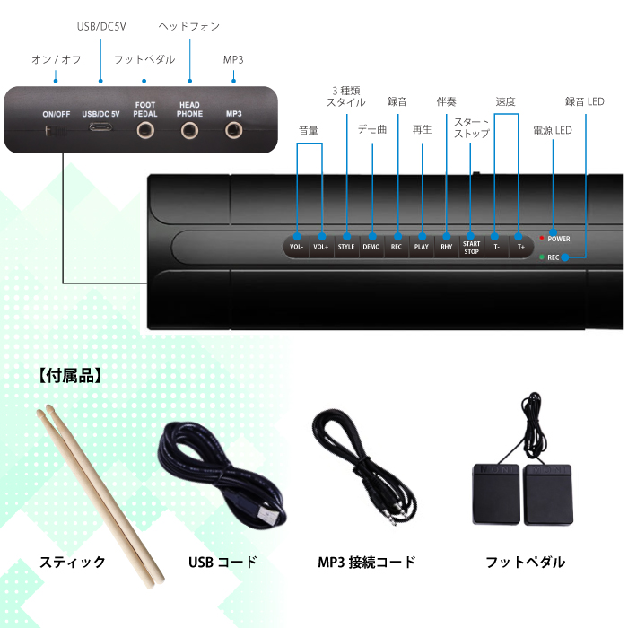 12 demonstration music 7 drams recording reproduction possibility audio  systems input-response (GR-6) with electronic drum set musical instrument  drum