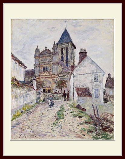 プリキャンバス複製画 デッサン額仕上げ 6号相当サイズ 10%OFF 新色追加して再販 モネ Church at Vetheuil The