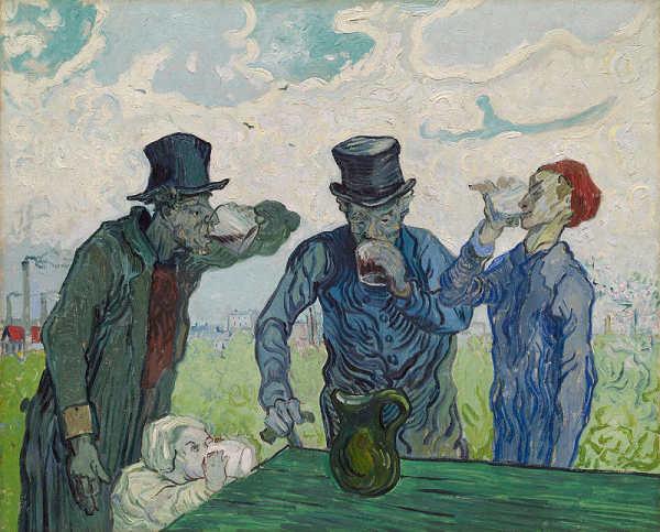 ゴッホ 酒を飲む人々 プリキャンバス複製画 期間限定今なら送料無料 6号サイズ お見舞い ギャラリーラップ仕上げ