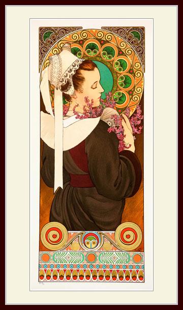 お歳暮 ミュシャ 岸壁のエリカの花 プリキャンバス複製画 デッサン額仕上げ 大決算セール 6号相当サイズ